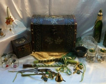 Pagan Altar Set  - Custom Crafted to your Specifications - Handcrafted, Embellished Tools  this example: Forest / Nature