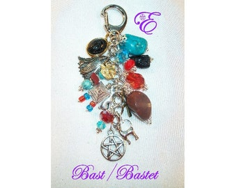 Bastet Charm Clip  for Purse / Bag / Jeans / Car - - Red Jasper, Turquoise