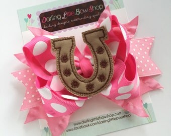 Cowgirl Bow, Horseshoe Bow - pink and tan hairbow with adorable, horseshoe center by Darling Little Bow Shop