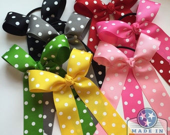 Ponytail Bow -- solid colors or polka dot bow -- CHOOSE COLOR