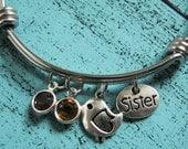 sister bracelet, sister gift, birthstone jewelry, gift for sister, bird bracelet, best friend gift, sister birthday gift, sister jewelry
