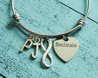 gift for bride, soulmate gift, girlfriend gift for her, anniversary gift, wife gift, soulmate bracelet, soulmate jewelry, romantic gift