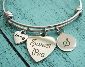 sweet pea jewelry, daughter birthday gift, new mom gift, grand daughter gift, sweet pea bracelet, graduation gift for daughter, niece gift