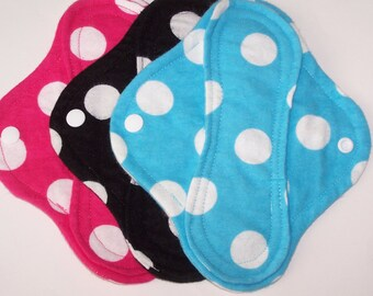 Set of 3 Flannel  panty liners with wings 8 inches in Dots