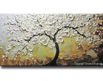 ORIGINAL Modern Art Abstract Painting White Cherry Tree Large Art Acrylic Painting Floral Wall Decor Textured Flowers Blue Gold - Christine
