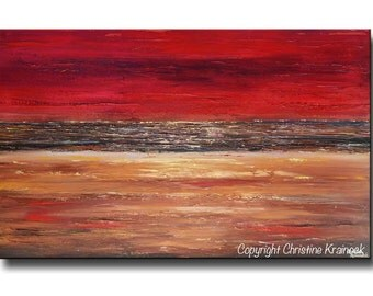 """GICLEE PRINT Art of Abstract Red Painting Acrylic Large Art Modern Wall Decor Holiday Gold Brown Urban Horizon Coastal SIZE to 60"""" Christine"""