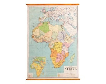 Vintage Africa Pull Down Map