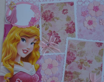 Disney Princess Birthday Aurora Sleeping Beauty Ariel Belle Rapunzel Snow White Cinderella Roses 12x12 Premade Scrapbook Page by KARI