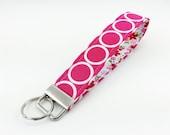 Pink Wristlet Strap, Fabric Key Fob, Keychain Wristlet, Key Strap, Gift idea, Circle Dots, Flowers