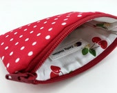 Red Polks Dots Coin Purse, Small Pouch, Little Gadget Case, Padded, Card Pouch, Zipper Wallet