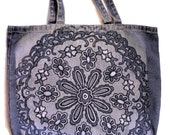 Blue denim cotton tote shoulder bag shopper color removal embellished painted floral diagonal print motif large flower go green