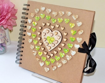 "Rustic Scrapbook Album - Wedding Guest Book - Photo Album - Hand Decorated - 8 x 8"" Green Gold Love Hearts - Scrap Book - Wedding Scrapbook"