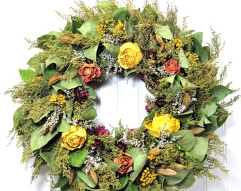 Fragrant Sweet Annie Wreath with Roses, Dried Floral Wreath, Wall Decor
