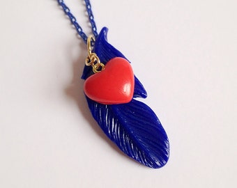 Harvest Moon Necklace, Blue Feather, Heart Events, Red Heart, Gamer Jewelry