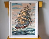 Sailing Ship Mid Century Paint By Numbers Framed Art