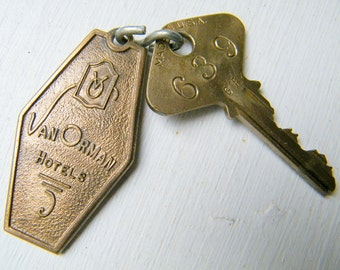 Vintage Van Orman Hotels HOTEL McCURDY Evansville Indiana Hotel Room Key and Fob #639