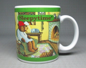 Sleepytime Tea mug with pajama bear , 1993 Celestial Seasonings .