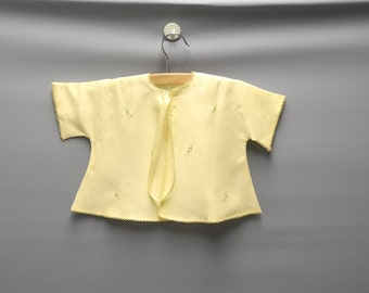Vintage Baby Clothes, 1950's Julius Berger Bright Yellow Baby Girl Jacket and Bonnet Set, Vintage Yellow Baby Jacket, Size 3-6 Months