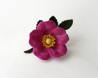 Felt flower brooch boutonniere fuchsia dog-rose, wild rose, ready to ship