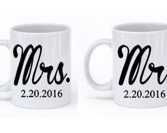 Mr and Mrs Coffee Mugs Set Printed
