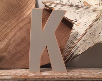 Hand-painted Wooden Letter K - Freestanding - Ariel Font - Various sizes, finishes and colours,