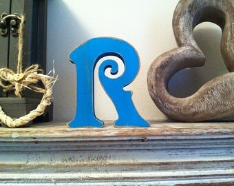 Hand-painted Wooden Letter, R - Freestanding - Victorian Font - Various sizes, finishes and colours - 30cm