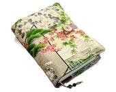 Book Cover in Vintage Kimono Silk, Bible Cover, Japanese Garden Cherry Blossom, UK Seller, Suitable for Hardback or Paperback