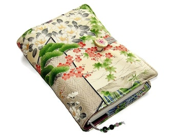 Book Cover in Vintage Kimono Silk, Bible Cover, Japanese Garden Cherry Blossom, UK Seller, Suitable for Hardback or Paperback