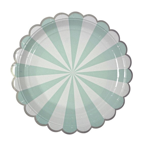 Like this item?  sc 1 st  Etsy & Aqua Striped Paper Plates Large Mint Paper Plates by Meri