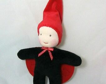 "Ladybug Gnome- A ""Little Imp"" Waldorf Inspired Doll"