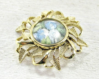 Vintage 1950s Gold Flower Brooch Pin with Encased Hand Embroidered Blue Roses