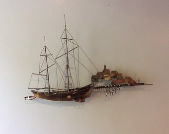 Curtis Jere Signed Ship and Village Wall Sculpture
