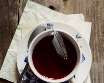 tea photograph, rustic kitchen decor, feather photograph, rustic home decor, tea lovers, office wall decor, romantic home decor, dark red