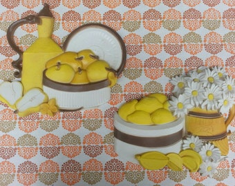 Vintage 1981 Homco Syroco 7610 Set of Two 2 Pair of Kitchen Wall Hangings Featuring Lemons Daisies And Pears Yellow Orange Brown