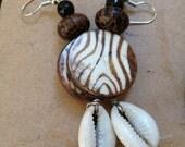 Cowrie Zebra Earrings