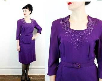 BE MINE SALE // Vintage 1940s dress . A Regal Dame . purple 40s dress with peplum and studded neckline . md / large
