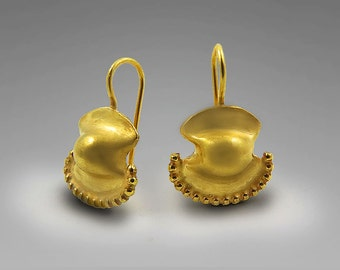Gold plated drop earrings, ancient Greek jewelry, 24k gold plating dangle earrings, Jewelry from Israel, drop earrings, Gold Earrings