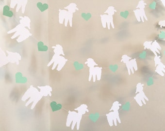 Little Lamb Baby Shower Decorations - Our Little Lamb Nursery decoration - Little lamb garland - Your color choice