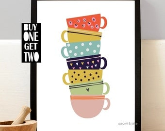 Teacups Art Print, Kitchen print, Illustration, Teacup Print, Kitchen Wall Decor, Kitchen Wall Art, Quirky, 8x10