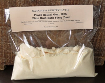 Peach Bellini Scented Goat Milk Pixie Dust Bath Fizzy Dust - Bath Bomb Powder
