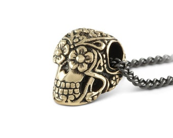 """Small Day of the Dead Skull Necklace - Bronze Day of the Dead Skull Pendant on 24"""" Gunmetal Chain"""