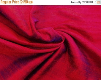 15% Off Fat quarter of 100 Percent pure dupioni silk in a dual tone of red with blue