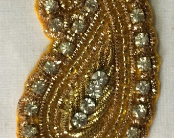Paisley  hand embroidered applique in yellowwith faux Swarovski crystals