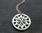 Double Layer Flower of Life Pendant - handcut sterling silver and 9ct gold rivets - Handcrafted Sacred Geometry Jewellery