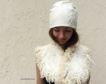 SET. White felted hat with cream ivory felt collar. Wool curls, locks. Nuno felted hat and neckwarmer. Eco style, pure wool, silk, cotton.