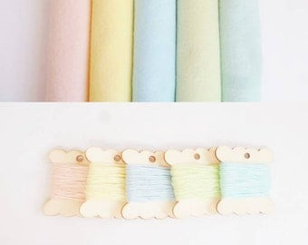 Felt sheets pastel embroidery thread kit arts and crafts 12inch felt square