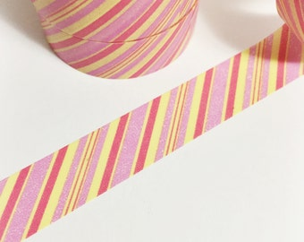 SALE Pale Pink Dark Pink and Yellow Diagonal Striped Washi Tape 11 yards 10 meters 15mm