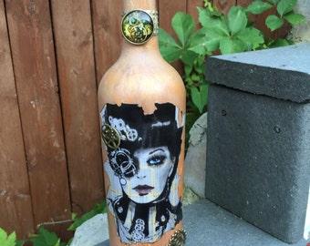 Vintage Steampunk Decoupage Wine Bottle, Vase, Diffuser, Home Decor
