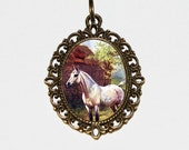 White Horse Necklace, Farm, Country, Horse Jewelry, Oval Pendant