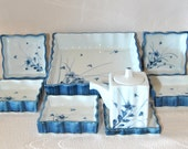 Imari Dinnerware Japanese condiment dishes, Set of 8 pieces Mid century Asian Pottery Set, Blue and white Japan Ceramics Porcelain